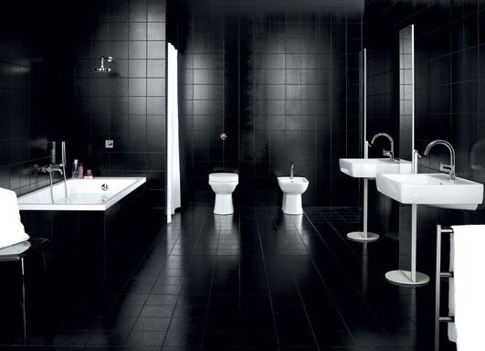 czarna lazienka w stylu modernistycznym